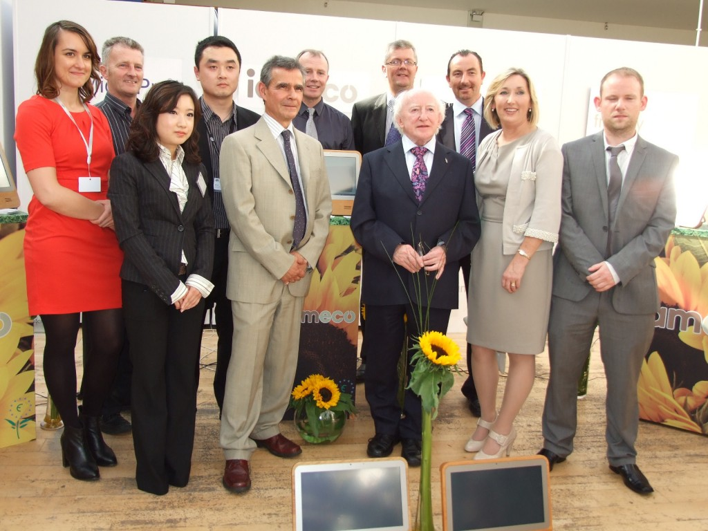 President of Ireland Michael D. Higgins launches iameco computers - picture with iameco staff